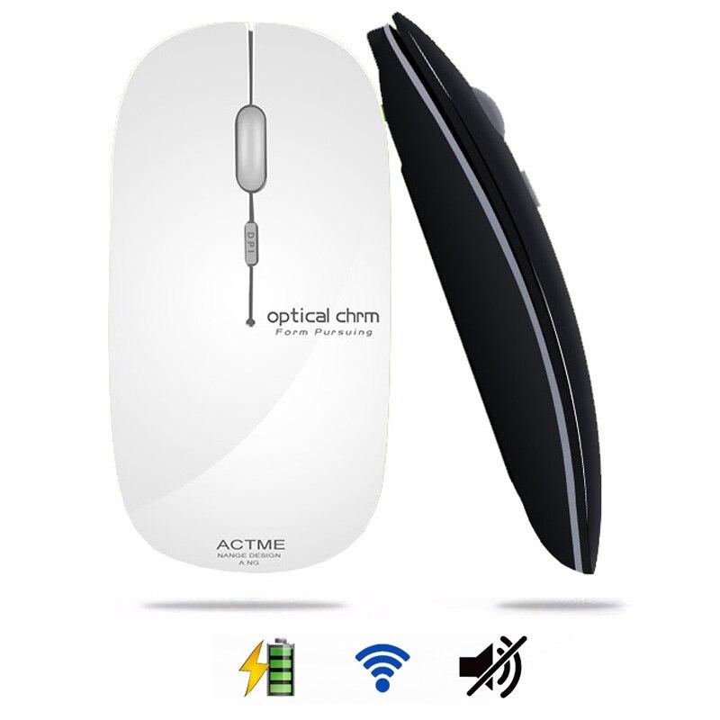 2.4 GHz Senza Fili Ricaricabile Mouse Ottico Mini Ufficio Portatile Topi Ricevitore USB Ultra-sottile Mute Mouse per il COMPUTER Portatile