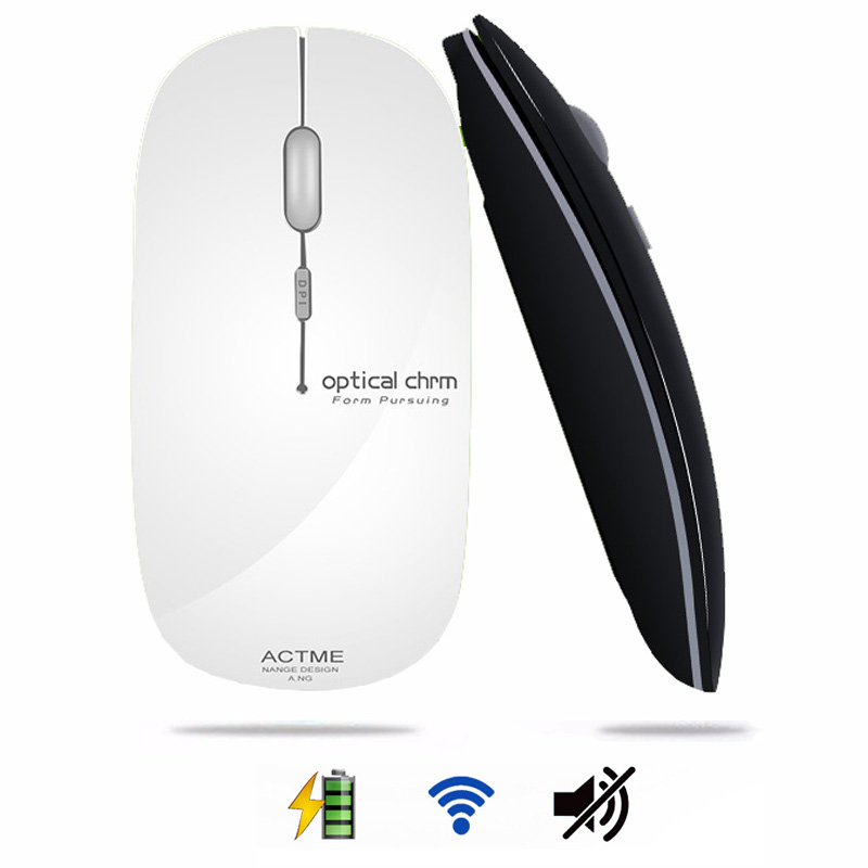 2.4GHz Rechargeable Wireless Mouse Optical Mini Office Portable Mice USB Receiver Ultra-thin Mute Mouse for PC Laptop original rapoo silent wireless optical mouse mute button click mini noiseless game mice 1000 dpi for macbook pc laptop computer