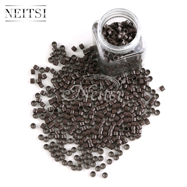 Neisti Micro Ring Beads Hair Extension Tools Tubes Without Silicone For Feather Hair Extensions Brown