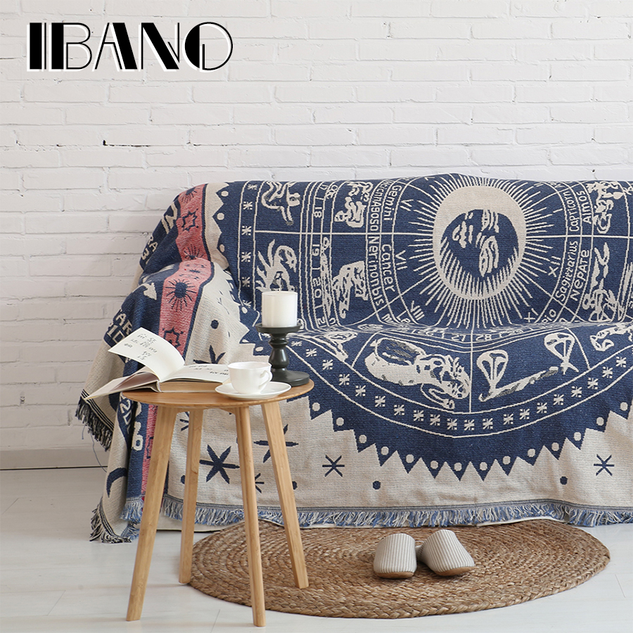 IBANO Cotton Throw Blanket Plaid Sofa Cover 230x250CM Thread Blanket With Tassel Vintage Home Decorative Beed Sheet Floor Mat nordic style cotton thread blanket thicken woven bed spread throw sofa cover blanket free shipping