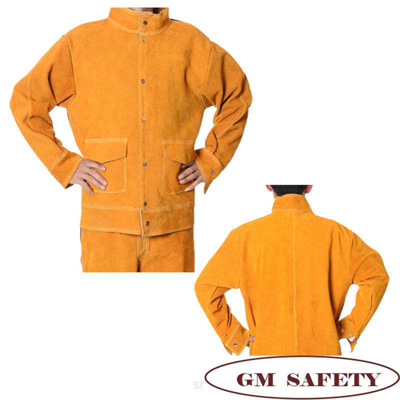 Image 2 - Cow Leather Electric Welding Work Clothes Cowskin Suit for Welders Soldering Protective Work Jackets Men  NL001-in Safety Clothing from Security & Protection