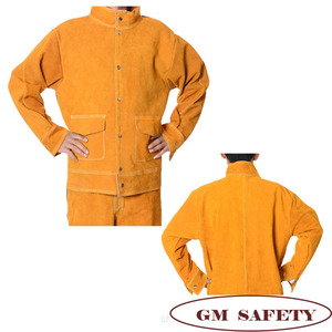 Image 2 - Cow Leather Electric Welding Work Clothes Cowskin Suit for Welders Soldering Protective Work Jackets Men  NL001
