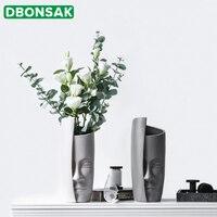 Nórdico Rosto Arranjo de Flores Vaso de Arte Vaso de Cerâmica Flor Artificial Vasos de Cerâmica Do Vintage Abstrato Pessoas Enfrentam Grande Pote Vaso Vasos e agricultores     -