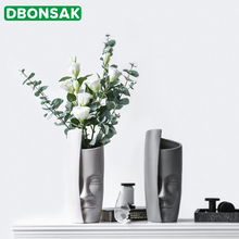 Nordic Face Art Vase Ceramic Flower Arrangement Vase Vintage Artificial Flower Vases Ceramic Abstract People Face Big Vase Pot nordic creative human face ceramic vase white art abstract flower vase flower pot flower arrangement ornament home decoration