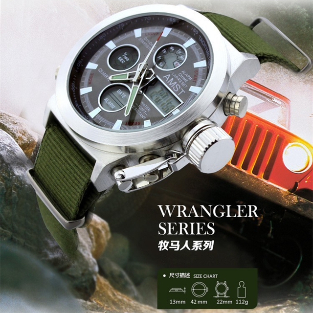 AMST Men Military Dive 50M Nylon Strap LED Watches
