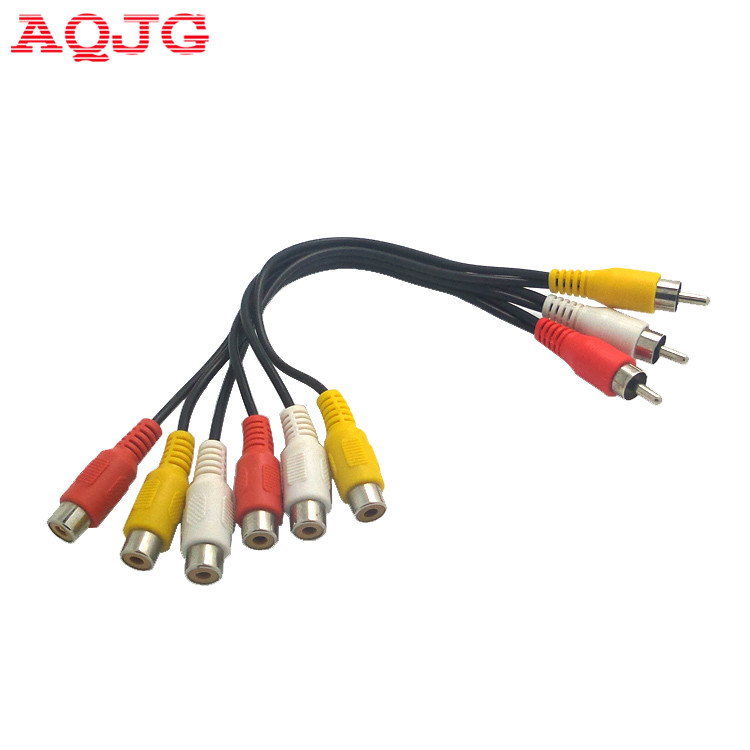 New Hot 3 RCA Male To 6 RCA Female Plug Splitter Audio TV DVD Video Adapter AV Cable 3 RCA Male To 6 RCA Female Plug AQJG rgb scart male to 3 rca female s video av tv audio cable adapter converter