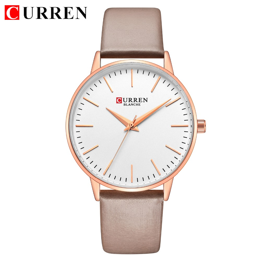 Watches Curren 2019 New Simple Womens Watches Ladies Dress Quartz Leather Wristwatch Rose Gold Waterproof Clock Female Relogio Feminino