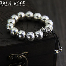 Buddha Jewelry S925 Thai Silver Bracelet Archaize Style Bracelet Heart Sutra 12mm Beaded Bracelet Couples Personality Presents