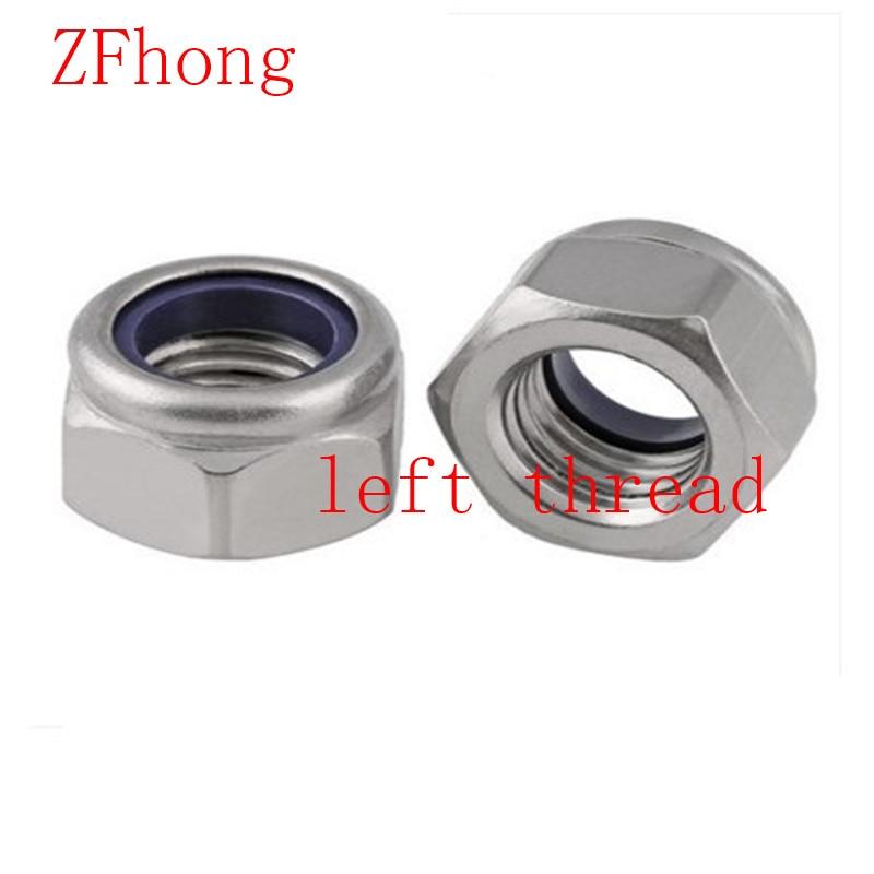 DIN985 Staniless Steel A2 M6/M8/M10/M12 left Thread Nylon Lock Nut гайка самостопорная din985 m6 16шт