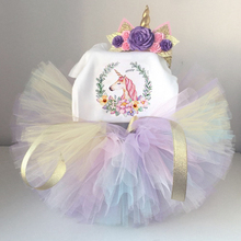 1 Year Baby Girl Dress Princess Girls Raninbow Tulle Unicorn Party Dress Toddler Kids Clothes Baptism 1st First Birthday Outfits