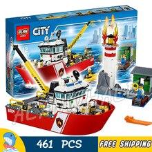461 pcs New City Fire Navio Barco de Resgate Farol Bombeiro Modelo 02057 Blocos de Construção de Brinquedos Para Crianças Compatíveis com lego