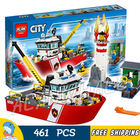 461pcs New City Fire Ship Boat Rescue Lighthouse Firefighter 02057 Model Building Blocks Children Toys Compatible with lego