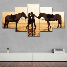 5 Pieces Modular Seaside Pull horse couple kissing Canvas Print Posters Pictures Oil painting Wall art canvas Paintings Decor