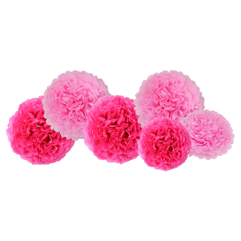 haochu 7pcsset pink series diy paper flower tissue ball happy birthday paper banner flag for kids birthday party home decor in party diy decorations from