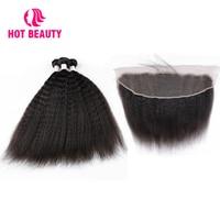 Горячие Красота волос кудрявый прямо бразильский пучки волос плетение 3 Связки с кружевом фронтальные Remy 100% Пряди человеческих волос для на