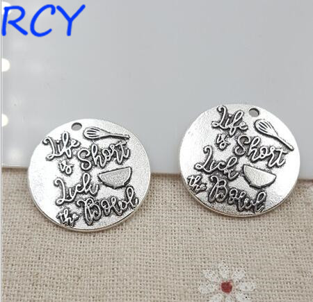 M2627  Top Quality 5 Pieces/lot 25mm Letter Printed life charm round disc messsage charm for jewelry making