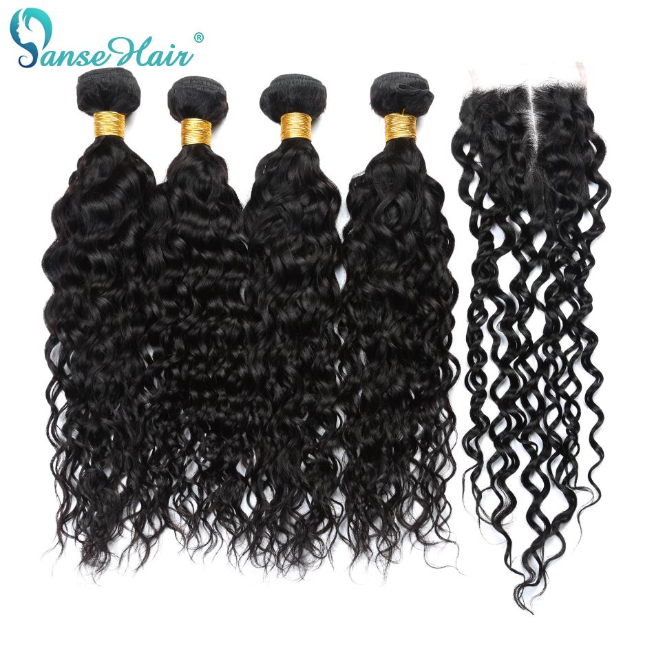 Panse Hair European Non Remy Hair Water Wave Bundles With Closure Hair Extension 3 Bundles With One Lace Closure 100% Human Hair