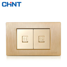 CHINT Electric Internet Socket 118 Type Brushed Gold Embedded Steel Frame NEW5D Two Position Telephone Computer