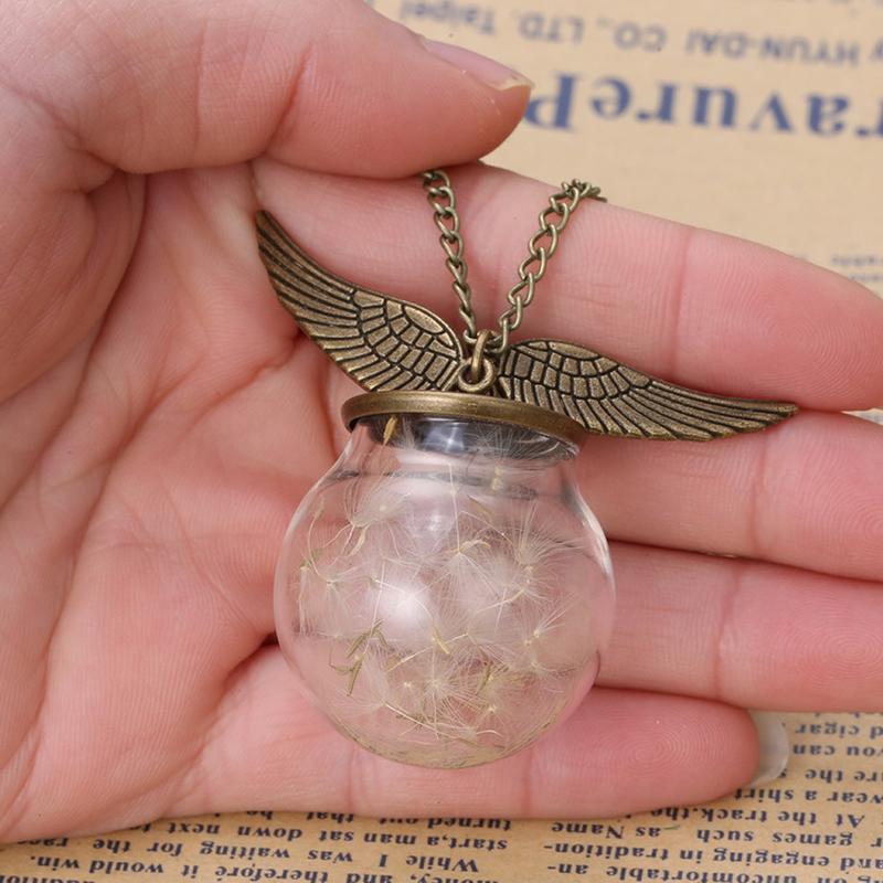 Several Dandelions Angel wings Vial Necklaces