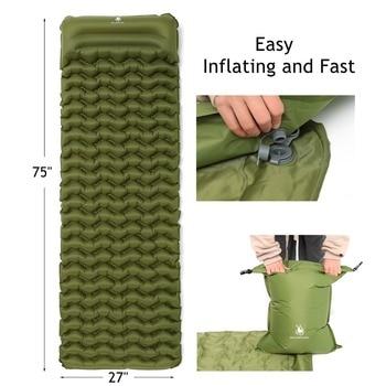 2019 New Sleeping Pad With Pillow Air Bag Hand Press Wave Shaped Inflating Camping Mattress Ultralight Outdoor Hiking Tent Mats 2