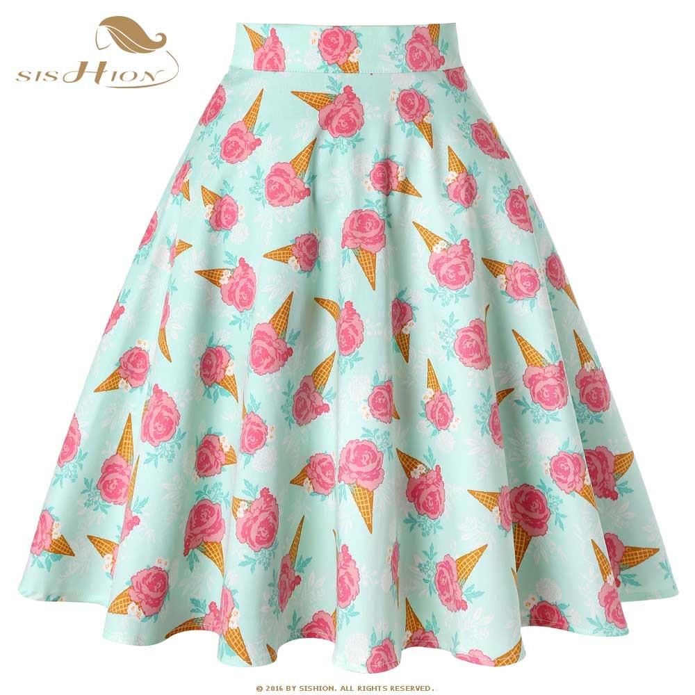SISHION Women Summer Skirt 2019 New VD0020 Ladies High Waist Ice Cream Print Floral Vintage Retro Cotton Skirt Jupe Femme