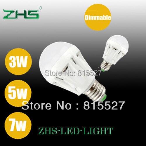 Free shipping ampoule led globe lights for home 3W 5W 7W Dimmable light bulb lumen E27 lamp Plastic housing 200pcs/lot