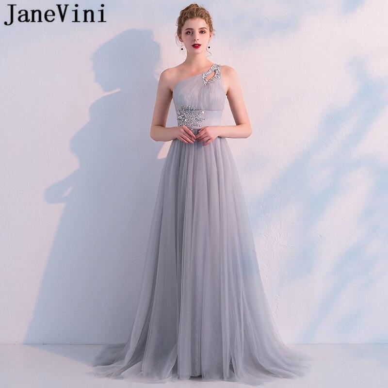 142a2576fca JaneVini Серый Кристалл одно плечо элегантные платья для выпускного Длинные  Тюль бисером подружки невесты Свадебная вечеринка