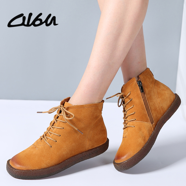 d0423d9d5185 O16U Ankle boots Shoes Women Genuine Leather Lace up Ladies boots Retro Low  Heel Rubber boots women autumn boots Winter 2017 NEW