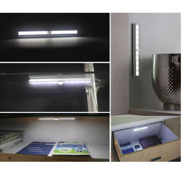 T 02DIY Portable 10LED Wireless Infrared Motion Detector Wireless Sensor  Closet Cabinet Light Lamp For