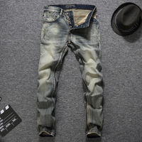Waterwashed Denim Overalls Jeans Men High Quality Cotton Brand Pants Mid Stripe Casual Style Men S