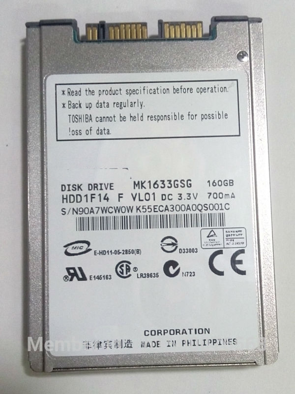 NEW 160GB HDD 1.8 MicroSATA MK1633GSG FOR HP 2740p 2730p 2530p 2540p hdd IBM x300 x301 T400S T410S hard disk REPLACE MK1229GSG hdd hp j9f42a