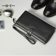 HT Black Wallet Genuine Leather Long Purse Mens Wallets Business Simple Style ID Card Holders Belt Phone Pockets Male Purses