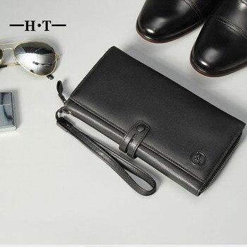 2681e07d3162 HT черный бумажник Пояса из натуральной кожи Длинный кошелек мужской  Женские Кошельки Бизнес простой Стиль ID