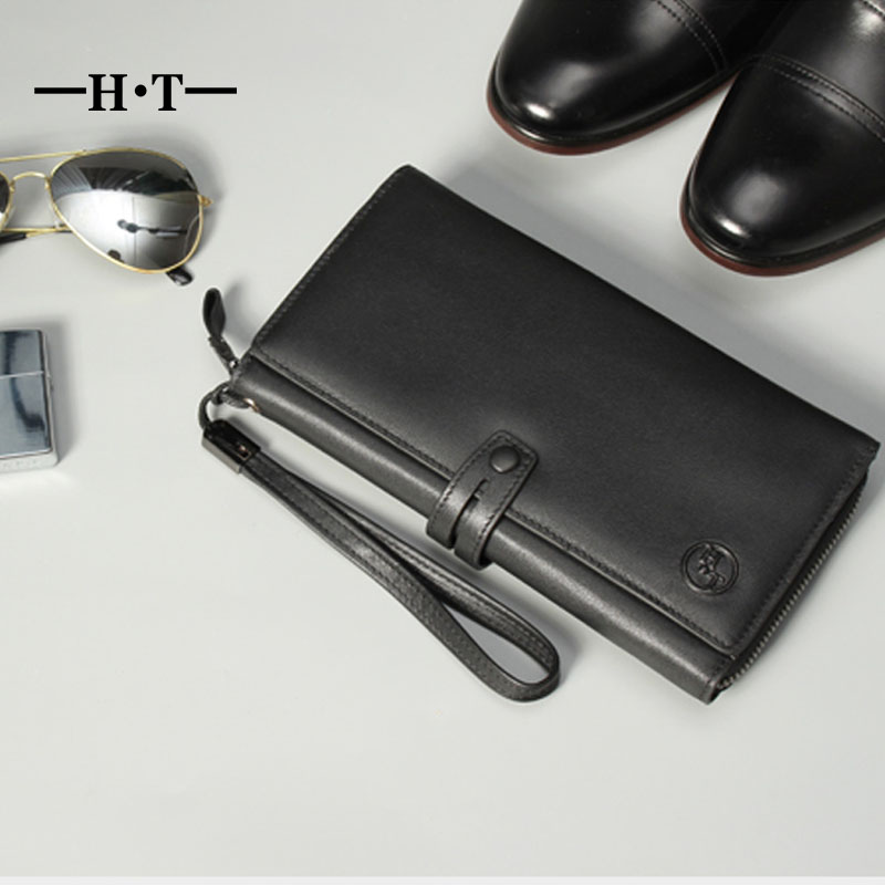 HT Black Wallet Genuine Leather Long Purse Mens Wallets Business Simple Style ID Card Holders Belt Phone Pockets Male Purses smirnoff slim genuine leather wallet case hand made custom name hasp simple style mens wallet super thin card purse mini wallet