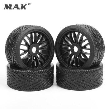 4 pcs wheel tires tyre&rim set 17mm Hex flat off road tires rims fit for 1/8 HPI HSP traxxas buggy RC car parts accessory