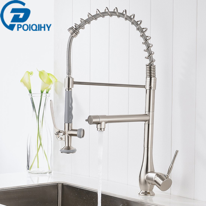 Brushed Nickel & Chrome Kitchen Tap Deck Mount Kitchen Faucet Kichen Mixer Tap Faucet Spring Dual Sprayer Swivel Spout Faucet chrome kitchen sink faucet solid brass spring two spouts deck mount kitchen mixer tap