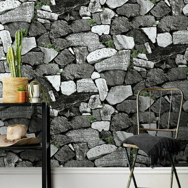 Aliexpress Com Buy Vintage Pvc Brick Stone Wallpaper For