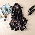 Мода искусственного шелка цветы шелковый шарф цветов печати долго дизайн солнцезащитный крем мыс путешествия пляж шарф женский
