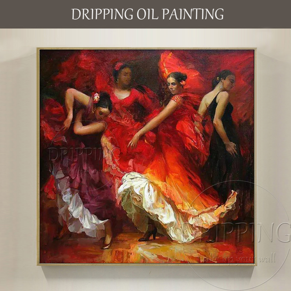 Luxury artwork top artist hand painted spain dancer for Hand painted portraits from photos