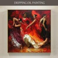 Luxury Artwork Top Artist Hand painted Spain Dancer Flamenco Dance Oil Painting Impressionist Flamenco Dancer Portraits Painting