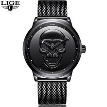2018 LIGE Luxury Brand Cool Punk Style Pirate Skeleton Skull Quartz Mens Watches Mesh Steel Sports Watch Men Relogio Masculino