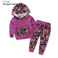 Two Pieces Girl Autumn Cotton Sweatshirt Sets Children Print Sport Suit Baby Kids Hoodie+Pants 2 pcs  Infant Casual Soft Cloth