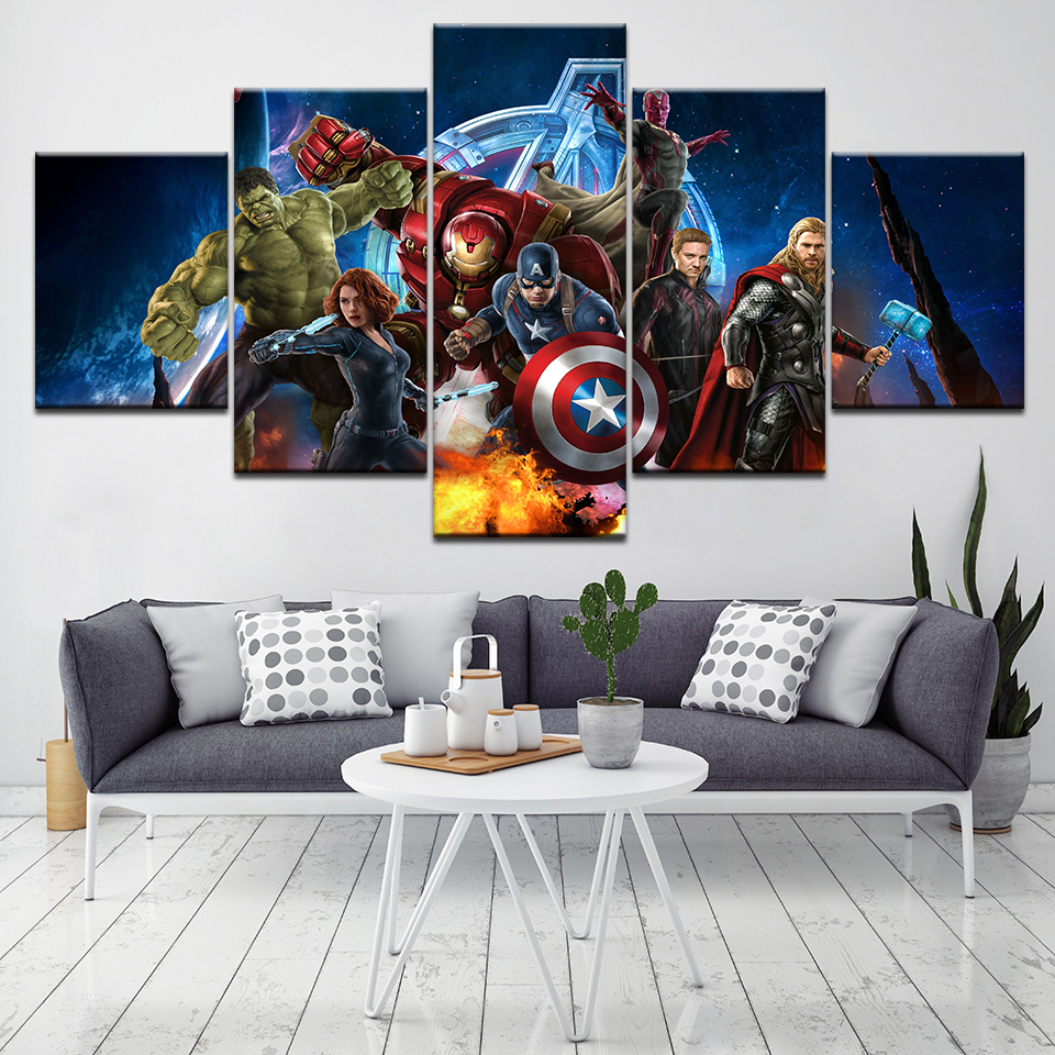 Movie superhero the Avengers wall Art Kids room Bedroom Living Room Home Decor HD Mural Poster 5 Piece Canvas Painting Picture in Painting Calligraphy from Home Garden