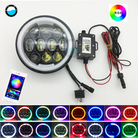 5 3/4'' 5.75 inch LED Headlight with RGB Angel Eye Halo Ring for Harley Dyna Sportster 1200 883 Parts Turn Signal Light Daymaker