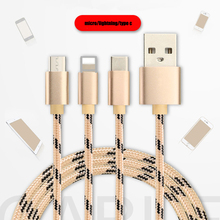 CHOETECH 3 in1 USB Cable Multiple 3A Charging Type C Micro USB Cable Mobile Phon