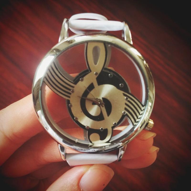 Уникальная Женщина Hollow Музыкальная Нота Стиль кожа Наручные Часы Кварцевые Аналоговые мода дамы Gfit Повседневная часы женщины Relógio Feminino