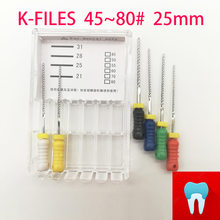 45-80# 21mm Dental K Files Root Canal Endodontic Instruments Dentist Tools Hand Use Stainless Steel Dentistry