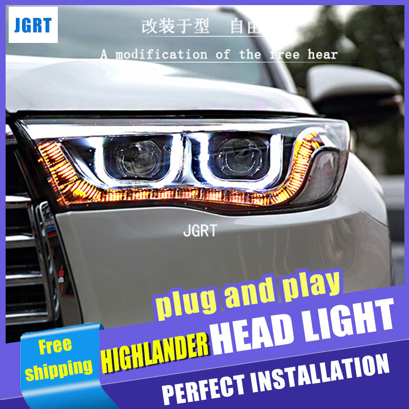 Car Styling For Toyota Highlander headlights 2014-2015 Highlander led headlight turn signal drl H7 hid Bi-Xenon Lens low beam special car trunk mats for toyota all models corolla camry rav4 auris prius yalis avensis 2014 accessories car styling auto