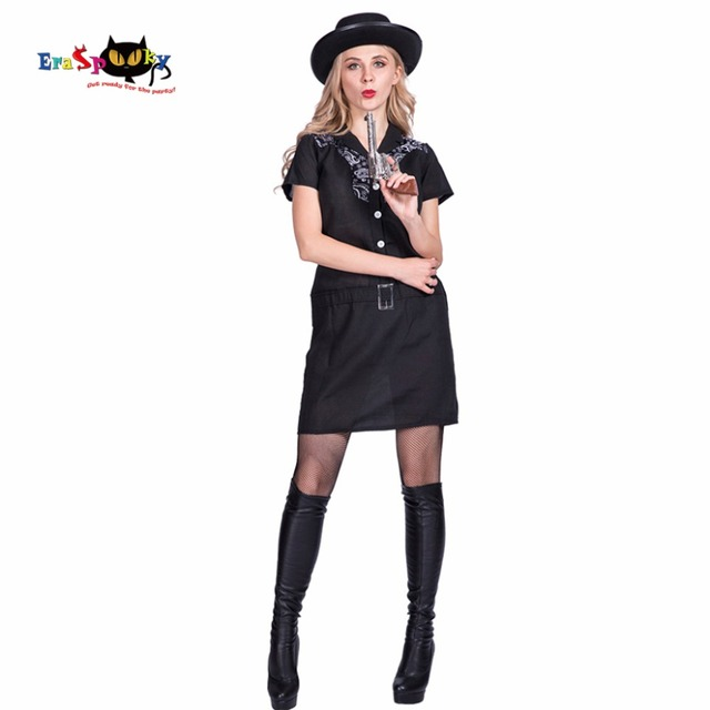 Sexy Black Mafia Gun Woman Cowgirl Ladies Cosplay Adult Costume Dress for Women Female 2017 Halloween  sc 1 st  AliExpress.com & Sexy Black Mafia Gun Woman Cowgirl Ladies Cosplay Adult Costume ...