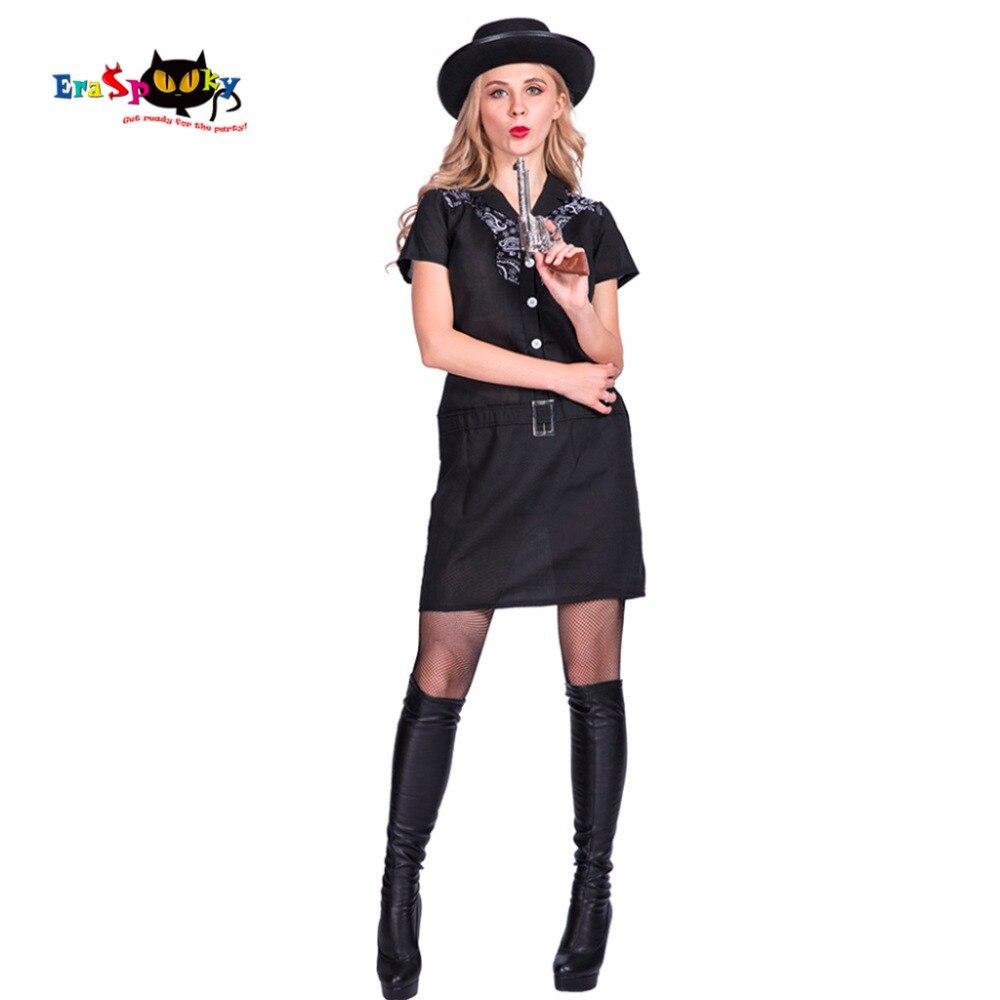 Sexy arma de mafioso negro mujeres West Cowgirl Ladies Cosplay disfraz de Halloween para adultos carnaval fiesta sombrero de fantasía